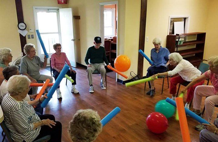 Residents enjoy a round of noodleball